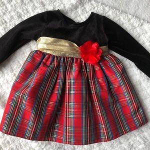 Black velvet and plaid baby dress